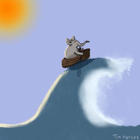 Elephant rowing a wild sea