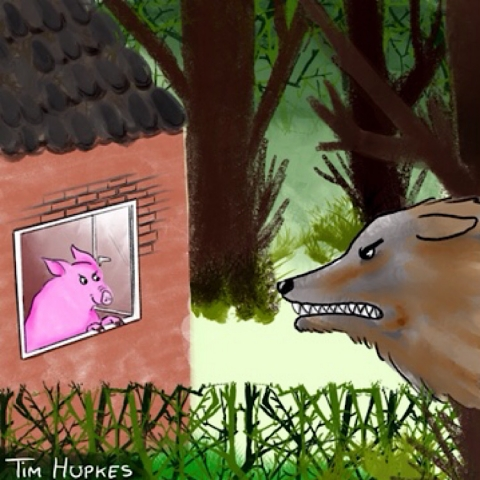 The third pig of Three Little Pigs, secure in his brick house