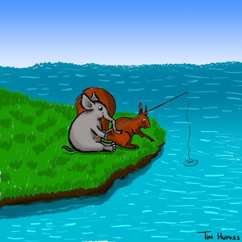 Elephant & Squirrel are fishing